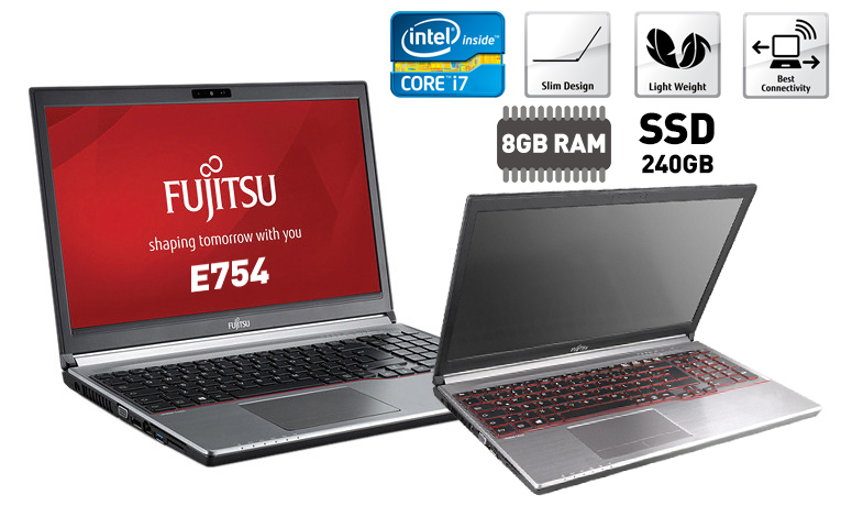 Laptop Fujitsu LifeBook E754 (Refurbished-Grade A), με i7/8GB/SSD